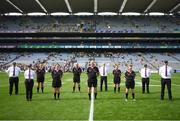 5 September 2021; Referee Shane Curley and officials before the TG4 All-Ireland Ladies Intermediate Football Championship Final match between Westmeath and Wexford at Croke Park in Dublin. Photo by Stephen McCarthy/Sportsfile