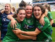 5 September 2021; Westmeath players, from left, Lucy Power, Grace Halligan and Vicky Carr celebrate following the TG4 All-Ireland Ladies Intermediate Football Championship Final match between Westmeath and Wexford at Croke Park in Dublin. Photo by Stephen McCarthy/Sportsfile