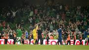 7 September 2021; Republic of Ireland manager Stephen Kenny and Gavin Bazunu applaud the supporters after the FIFA World Cup 2022 qualifying group A match between Republic of Ireland and Serbia at the Aviva Stadium in Dublin. Photo by Harry Murphy/Sportsfile