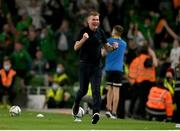7 September 2021; Republic of Ireland manager Stephen Kenny celebrates his side's first goal the FIFA World Cup 2022 qualifying group A match between Republic of Ireland and Serbia at the Aviva Stadium in Dublin. Photo by Harry Murphy/Sportsfile