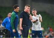 7 September 2021; Republic of Ireland manager Stephen Kenny with coaches Keith Andrews, left, and Anthony Barry during the FIFA World Cup 2022 qualifying group A match between Republic of Ireland and Serbia at the Aviva Stadium in Dublin. Photo by Stephen McCarthy/Sportsfile