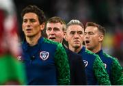 7 September 2021; Republic of Ireland manager Stephen Kenny along with coach Keith Andrews, goalkeeping coach Dean Kiely and head of athletic performance Damien Doyle during the playing of the national anthem before the FIFA World Cup 2022 qualifying group A match between Republic of Ireland and Serbia at the Aviva Stadium in Dublin. Photo by Harry Murphy/Sportsfile
