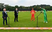 8 September 2021; Ireland captain Andrew Balbirnie, right, Zimbabwe captain Craig Ervine and match referee Kevin Gallagher, are joined by John Kenny of RTÉ, during the coin toss before match one of the Dafanews International Cup ODI series between Ireland and Zimbabwe at Stormont in Belfast. Photo by Seb Daly/Sportsfile