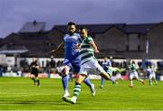 3 September 2021; Graham Burke of Shamrock Rovers and David Webster of Finn Harps during the SSE Airtricity League Premier Division match between Finn Harps and Shamrock Rovers at Finn Park in Ballybofey, Donegal. Photo by Ben McShane/Sportsfile