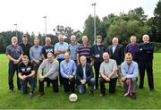 8 September 2021; Attendees; back row from left, Brian Mullins of Dublin, Noel O'Mahony of Kerry, Barry Coffey of Cork, Mikey Connor of Kerry, Tom Byrne of Mayo, Tomás Ó Flatharta of Kerry, Jack O'Shea of Kerry, Mícheál Ó Muircheartaigh of Kerry, Neil Sweeney, guest, Jackie Walsh of Kerry, and Pat McCarthy of Kerry and front row; from left, Dermot Hanafin of Kerry, Willie Maher of Kerry, Ciarán Murray of Monaghan, Kevin McStay of Mayo, Timmy Brosnan of Kerry and Brendan Lynskey of Galway during the reunion of club and intercounty GAA players trained by Mícheál Ó Muircheartaigh as part of a training group of Dublin based players in the 1970, '80's and '90's at UCD in Belfield, Dublin. Photo by Piaras Ó Mídheach/Sportsfile