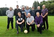 8 September 2021; Kerry attendees, back row, from left, Willie Maher, Noel O'Mahony, Mikey Connor, Tomás Ó Flatharta, Mícheál Ó Muircheartaigh, Pat McCarthy and Jack O'Shea and front row; from left, Dermot Hanafin, Timmy Brosnan and Jackie Walsh at UCD during the reunion of club and intercounty GAA players trained by Mícheál Ó Muircheartaigh as part of a training group of Dublin based players in the 1970, '80's and '90's at UCD in Belfield, Dublin. Photo by Piaras Ó Mídheach/Sportsfile
