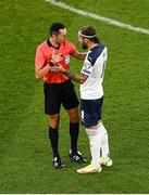 7 September 2021; Referee José María Sánchez with Nemanja Gudelj of Serbia during the FIFA World Cup 2022 qualifying group A match between Republic of Ireland and Serbia at the Aviva Stadium in Dublin. Photo by Ben McShane/Sportsfile
