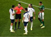 7 September 2021; Referee José María Sánchez with Serbia players, from left, Aleksandar Mitrovic, Filip Kostic and Nemanja Gudelj of Serbia during the FIFA World Cup 2022 qualifying group A match between Republic of Ireland and Serbia at the Aviva Stadium in Dublin. Photo by Ben McShane/Sportsfile