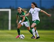8 September 2021; Áine O'Gorman, right, and Sarah Rowe during a Republic of Ireland home-based training session at FAI Headquarters in Abbotstown, Dublin. Photo by Piaras Ó Mídheach/Sportsfile