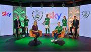 9 September 2021; A landmark partnership between Sky and the FAI has been announced today, which sees Sky becoming the first-ever, stand-alone Primary Partner of the Republic of Ireland Women's National Team. The four-year partnership means Sky will be Primary Partner of the Women's National Team through two major tournaments – the 2023 FIFA Women's World Cup in Australia / New Zealand and the 2025 UEFA Women's Championship. Pictured at the partnership announcement are, from left, Sky Ireland CEO JD Buckley, Ciara Grant, Sky Ireland Chief Commercial Officer Orlaith Ryan, Rianna Jarrett, Republic of Ireland Women's national team manager Vera Pauw and Jessica Ziu and FAI CEO, Jonathan Hill. Photo by Brendan Moran/Sportsfile