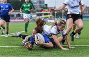 4 September 2021; Emily McKeown of Leinster scores a try, despite the efforts of Rachael McIlroy of Ulster, during the IRFU Women's Interprovincial Championship Round 2 match between Leinster and Ulster at Energia Park in Dublin. Photo by Piaras Ó Mídheach/Sportsfile