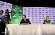 9 September 2021; A landmark partnership between Sky and the FAI has been announced today, which sees Sky becoming the first-ever, stand-alone Primary Partner of the Republic of Ireland Women's National Team. The four-year partnership means Sky will be Primary Partner of the Women's National Team through two major tournaments – the 2023 FIFA Women's World Cup in Australia / New Zealand and the 2025 UEFA Women's Championship. Pictured at the partnership announcement is FAI CEO Jonathan Hill and Republic of Ireland Women's national team manager Vera Pauw. Photo by Harry Murphy/Sportsfile