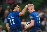 10 September 2021; Jamie Osborne of Leinster, right, celebrates after scoring his side's fourth try with team-mate Conor O'Brien during the Bank of Ireland Pre-Season Friendly match between Leinster and Harlequins at Aviva Stadium in Dublin. Photo by Harry Murphy/Sportsfile