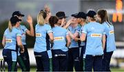 11 September 2021; Ash Healy of CSNI, fourth from right, is congratulated by her team-mates after catching out Alana Dalzell of Bready during the Clear Currency Women's All-Ireland T20 Cup Semi-Final match between Bready and CSNI at Bready Cricket Club in Tyrone. Photo by Ben McShane/Sportsfile