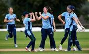 11 September 2021; Ash Healy of CSNI, centre, is congratulated by her team-mates after claiming the wicket of Abbie McKnight of Bready during the Clear Currency Women's All-Ireland T20 Cup Semi-Final match between Bready and CSNI at Bready Cricket Club in Tyrone. Photo by Ben McShane/Sportsfile