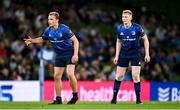 10 September 2021; Niall Comerford, left, and Jamie Osborne of Leinster during the Bank of Ireland Pre-Season Friendly match between Leinster and Harlequins at Aviva Stadium in Dublin. Photo by Brendan Moran/Sportsfile