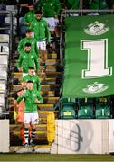 10 September 2021; Shamrock Rovers captain Ronan Finn leads his side to the pitch before the SSE Airtricity League Premier Division match between Shamrock Rovers and Waterford at Tallaght Stadium in Dublin. Photo by Stephen McCarthy/Sportsfile