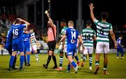 10 September 2021; Referee Rob Harvey shows a yellow card to Eddie Nolan of Waterford, 46, during the SSE Airtricity League Premier Division match between Shamrock Rovers and Waterford at Tallaght Stadium in Dublin. Photo by Stephen McCarthy/Sportsfile
