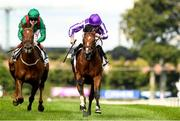 11 September 2021; St Mark's Basilica, right, with Ryan Moore up, on their way to winning the Irish Champion Stakes from second place Tarnawa, with Colin Keane up, during day one of the Longines Irish Champions Weekend at Leopardstown Racecourse in Dublin. Photo by Matt Browne/Sportsfile