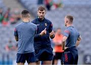 11 September 2021; Aidan O'Shea of Mayo, centre, in conversation with team-mates Tommy Conroy, left, and Ryan O'Donoghue ahead of the GAA Football All-Ireland Senior Championship Final match between Mayo and Tyrone at Croke Park in Dublin. Photo by Piaras Ó Mídheach/Sportsfile