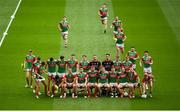 11 September 2021; The Mayo players gather for the team photograph before the GAA Football All-Ireland Senior Championship Final match between Mayo and Tyrone at Croke Park in Dublin. Photo by Stephen McCarthy/Sportsfile