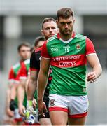 11 September 2021; Mayo captain Aidan O'Shea leads his team during the parade before the GAA Football All-Ireland Senior Championship Final match between Mayo and Tyrone at Croke Park in Dublin. Photo by Seb Daly/Sportsfile