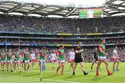 11 September 2021; Mayo captain Aidan O'Shea leads his side in the parade before the GAA Football All-Ireland Senior Championship Final match between Mayo and Tyrone at Croke Park in Dublin. Photo by Ramsey Cardy/Sportsfile