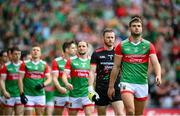 11 September 2021; Mayo captain Aidan O'Shea leads his team during the parade before the GAA Football All-Ireland Senior Championship Final match between Mayo and Tyrone at Croke Park in Dublin. Photo by Stephen McCarthy/Sportsfile