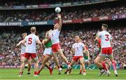 11 September 2021; Brian Kennedy of Tyrone in action against Aidan O'Shea of Mayo during the GAA Football All-Ireland Senior Championship Final match between Mayo and Tyrone at Croke Park in Dublin. Photo by Ramsey Cardy/Sportsfile