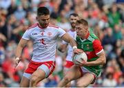 11 September 2021; Bryan Walsh of Mayo in action against Pádraig Hampsey of Tyrone during the GAA Football All-Ireland Senior Championship Final match between Mayo and Tyrone at Croke Park in Dublin. Photo by Brendan Moran/Sportsfile