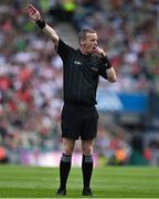 11 September 2021; Referee Joe McQuillan during the GAA Football All-Ireland Senior Championship Final match between Mayo and Tyrone at Croke Park in Dublin. Photo by Brendan Moran/Sportsfile