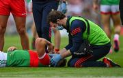 11 September 2021; Aidan O'Shea of Mayo receives medical attention during the GAA Football All-Ireland Senior Championship Final match between Mayo and Tyrone at Croke Park in Dublin. Photo by Brendan Moran/Sportsfile