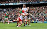 11 September 2021; Michael McKernan of Tyrone in action against Conor Loftus of Mayo during the GAA Football All-Ireland Senior Championship Final match between Mayo and Tyrone at Croke Park in Dublin. Photo by Ramsey Cardy/Sportsfile