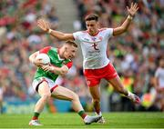 11 September 2021; Ryan O'Donoghue of Mayo in action against Michael McKernan of Tyrone during the GAA Football All-Ireland Senior Championship Final match between Mayo and Tyrone at Croke Park in Dublin. Photo by Stephen McCarthy/Sportsfile