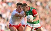 11 September 2021; Ryan O'Donoghue of Mayo in action against Michael McKernan of Tyrone during the GAA Football All-Ireland Senior Championship Final match between Mayo and Tyrone at Croke Park in Dublin. Photo by Brendan Moran/Sportsfile