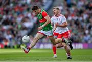 11 September 2021; Lee Keegan of Mayo gets a away from Michael O'Neill of Tyrone during the GAA Football All-Ireland Senior Championship Final match between Mayo and Tyrone at Croke Park in Dublin. Photo by Brendan Moran/Sportsfile