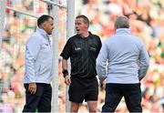 11 September 2021; Referee Joe McQuillan consults with his umpires before rewarding Mayo a free-kick late in the first half during the GAA Football All-Ireland Senior Championship Final match between Mayo and Tyrone at Croke Park in Dublin. Photo by Brendan Moran/Sportsfile