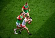 11 September 2021; Michael O'Neill of Tyrone in action against Tommy Conroy of Mayo during the GAA Football All-Ireland Senior Championship Final match between Mayo and Tyrone at Croke Park in Dublin. Photo by Daire Brennan/Sportsfile