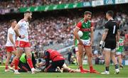 11 September 2021; Aidan O'Shea of Mayo, second from right, speaks to Tyrone goalkeeper Niall Morgan during the GAA Football All-Ireland Senior Championship Final match between Mayo and Tyrone at Croke Park in Dublin. Photo by Ramsey Cardy/Sportsfile