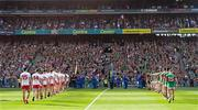 11 September 2021; A general view of both teams during the parade before the GAA Football All-Ireland Senior Championship Final match between Mayo and Tyrone at Croke Park in Dublin. Photo by Ramsey Cardy/Sportsfile