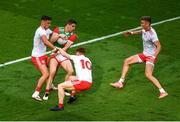 11 September 2021; Lee Keegan of Mayo in action against Tyrone players, left to right, Michael McKernan, Conor Meyler, and Conn Kilpatrick during the GAA Football All-Ireland Senior Championship Final match between Mayo and Tyrone at Croke Park in Dublin. Photo by Daire Brennan/Sportsfile