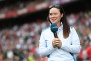11 September 2021; Solheim Cup winner Leona Maguire is introduced to the crowd at half-time of the GAA Football All-Ireland Senior Championship Final match between Mayo and Tyrone at Croke Park in Dublin. Photo by Ramsey Cardy/Sportsfile