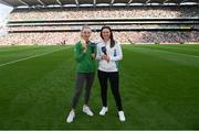 11 September 2021; Tokyo Paralympic Gold medallist Ellen Keane, left, and Solheim Cup winner Leona Maguire are introduced to the crowd at half-time of the GAA Football All-Ireland Senior Championship Final match between Mayo and Tyrone at Croke Park in Dublin. Photo by Ramsey Cardy/Sportsfile
