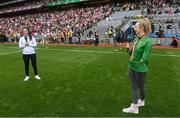 11 September 2021; Tokyo Paralympic Gold medallist Ellen Keane, right, and Solheim Cup winner Leona Maguire are introduced to the crowd at half-time of the GAA Football All-Ireland Senior Championship Final match between Mayo and Tyrone at Croke Park in Dublin. Photo by Ramsey Cardy/Sportsfile