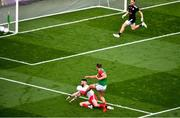 11 September 2021; Aidan O'Shea of Mayo is blocked by Ronan McNamee of Tyrone during the GAA Football All-Ireland Senior Championship Final match between Mayo and Tyrone at Croke Park in Dublin. Photo by Daire Brennan/Sportsfile
