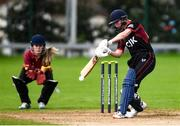 11 September 2021; Louise Little of Pembroke bats during the Clear Currency Women's All-Ireland T20 Cup Final match between Bready cricket club and Pembroke cricket club at Bready Cricket Club in Tyrone. Photo by Ben McShane/Sportsfile