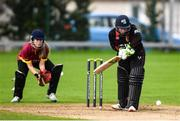 11 September 2021; Mary Waldron of Pembroke bats during the Clear Currency Women's All-Ireland T20 Cup Final match between Bready cricket club and Pembroke cricket club at Bready Cricket Club in Tyrone. Photo by Ben McShane/Sportsfile