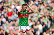 11 September 2021; Ryan O'Donoghue of Mayo reacts after missing a penalty during the GAA Football All-Ireland Senior Championship Final match between Mayo and Tyrone at Croke Park in Dublin. Photo by Seb Daly/Sportsfile