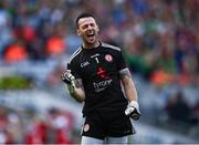 11 September 2021; Tyrone goalkeeper Niall Morgan celebrates after his side's first goal scored by team-mate Cathal McShane during the GAA Football All-Ireland Senior Championship Final match between Mayo and Tyrone at Croke Park in Dublin. Photo by David Fitzgerald/Sportsfile