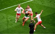 11 September 2021; Aidan O'Shea of Mayo in action against Tyrone players, left to right, Frank Burns, Brian Kennedy, and Michael McKernan during the GAA Football All-Ireland Senior Championship Final match between Mayo and Tyrone at Croke Park in Dublin. Photo by Daire Brennan/Sportsfile